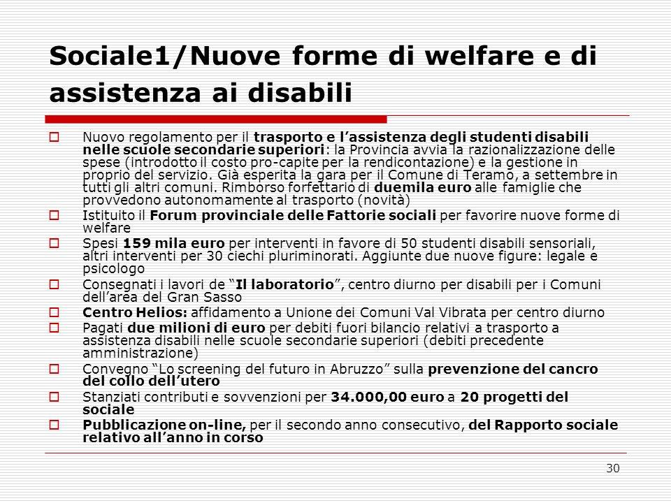 Sociale1/Nuove forme di welfare e di assistenza ai disabili
