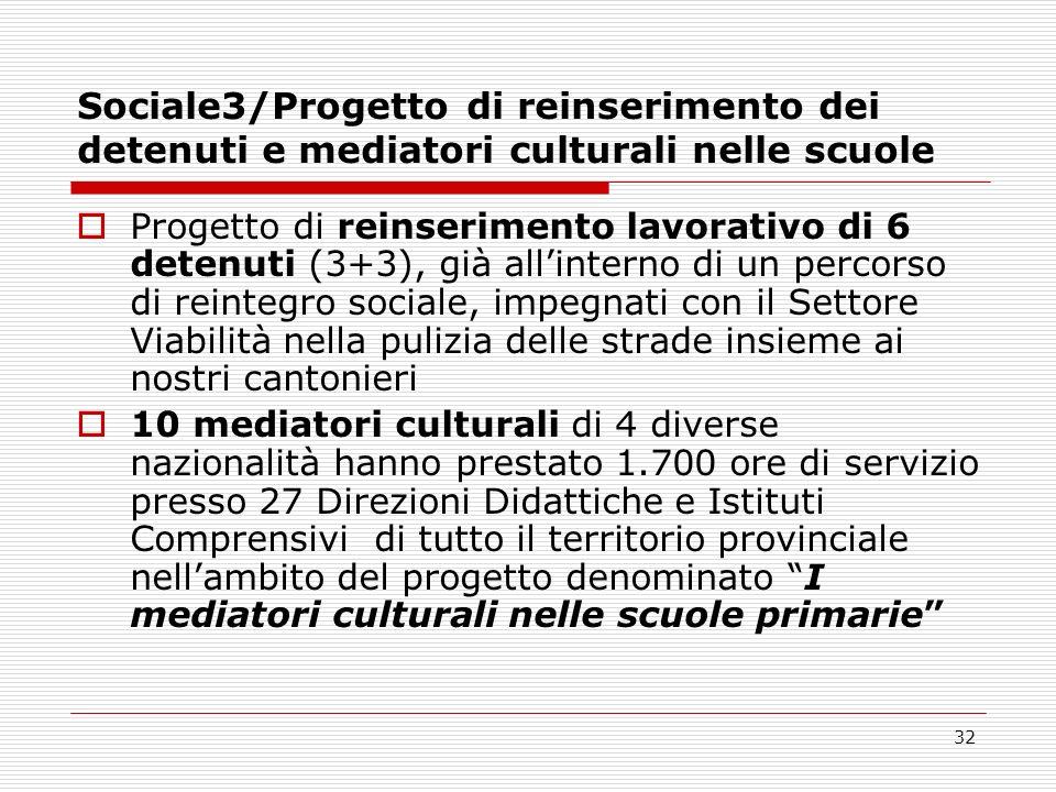 Sociale3/Progetto di reinserimento dei detenuti e mediatori culturali nelle scuole