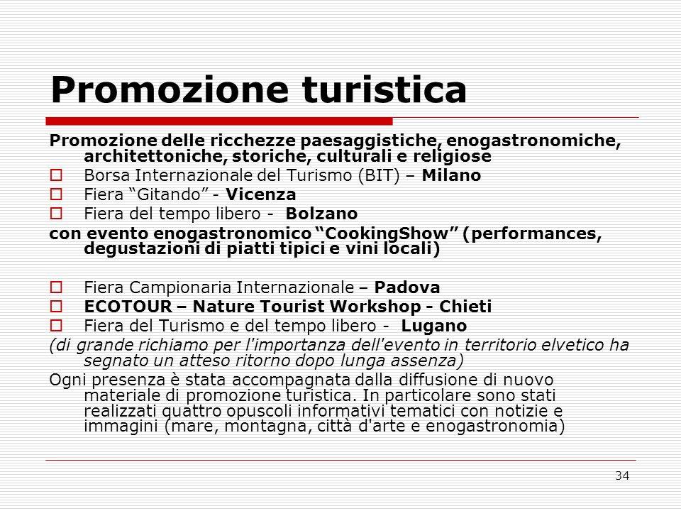 Promozione turistica Promozione delle ricchezze paesaggistiche, enogastronomiche, architettoniche, storiche, culturali e religiose.