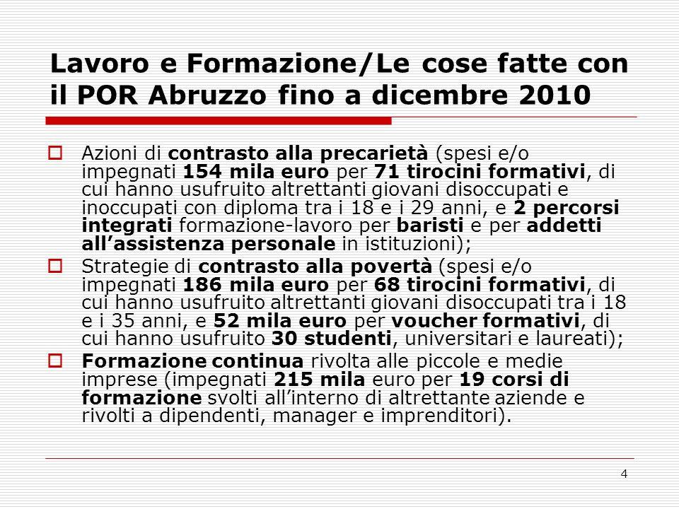 Lavoro e Formazione/Le cose fatte con il POR Abruzzo fino a dicembre 2010