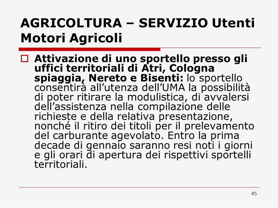 AGRICOLTURA – SERVIZIO Utenti Motori Agricoli