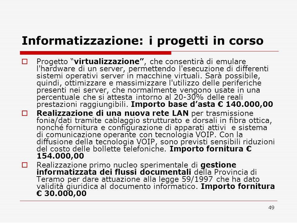 Informatizzazione: i progetti in corso
