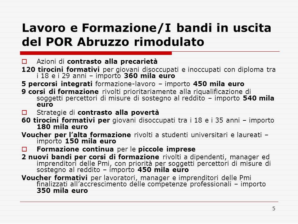 Lavoro e Formazione/I bandi in uscita del POR Abruzzo rimodulato