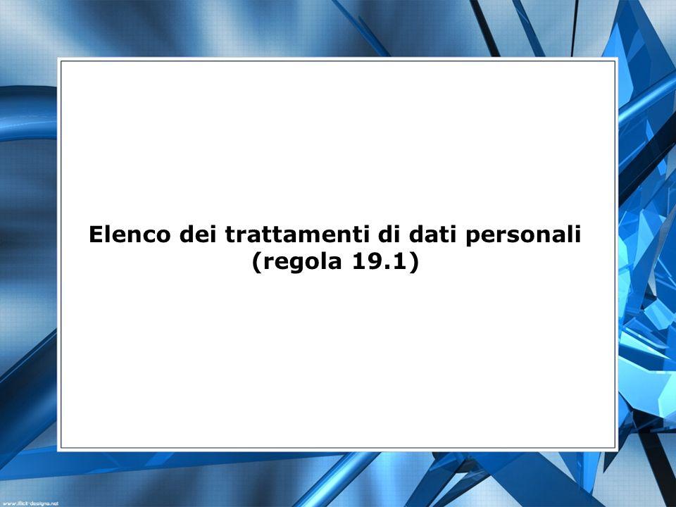 Elenco dei trattamenti di dati personali (regola 19.1)