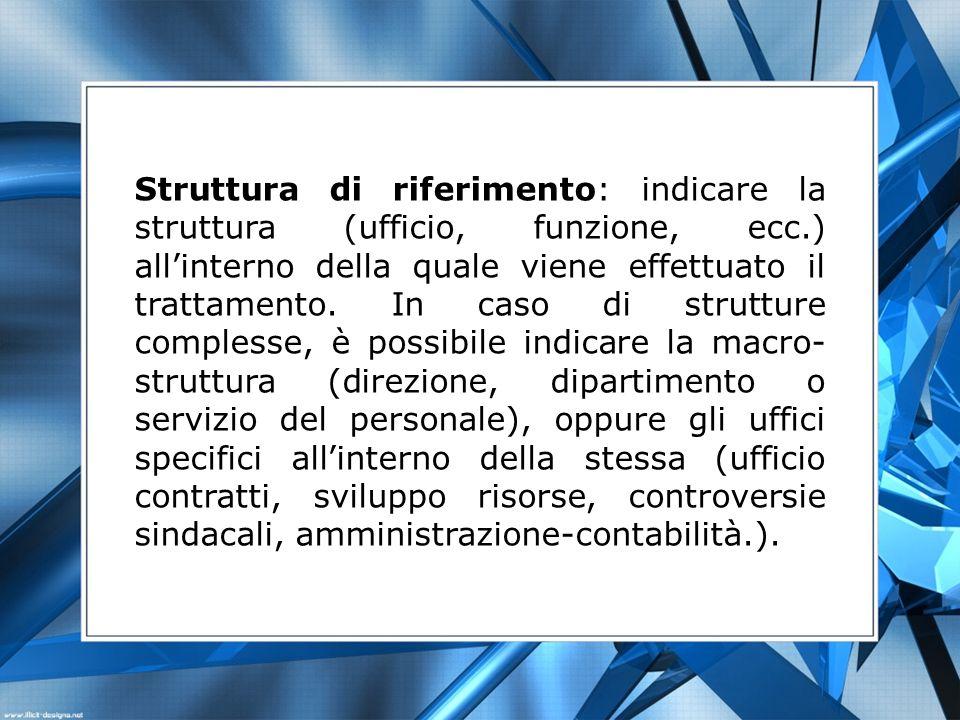 Struttura di riferimento: indicare la struttura (ufficio, funzione, ecc.) all'interno della quale viene effettuato il trattamento.