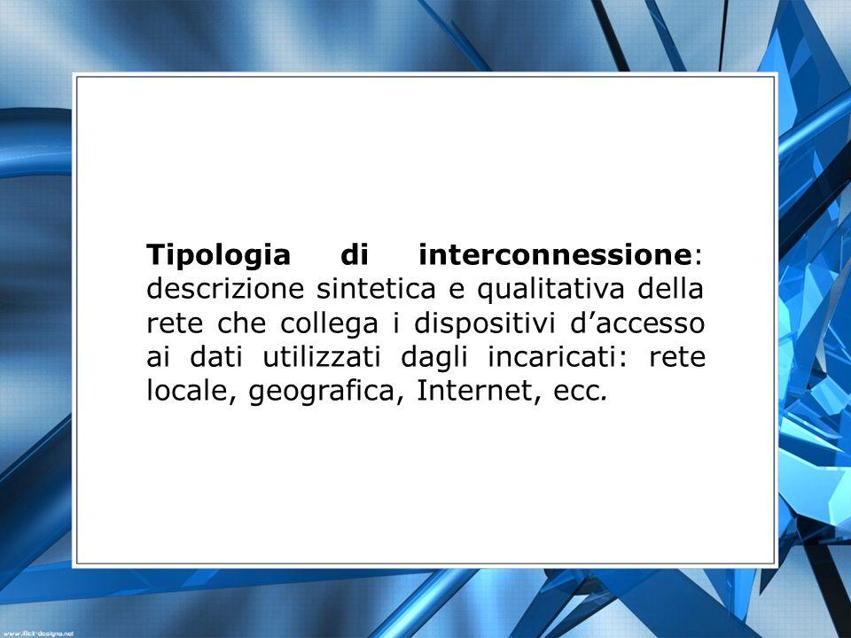Tipologia di interconnessione: descrizione sintetica e qualitativa della rete che collega i dispositivi d'accesso ai dati utilizzati dagli incaricati: rete locale, geografica, Internet, ecc.