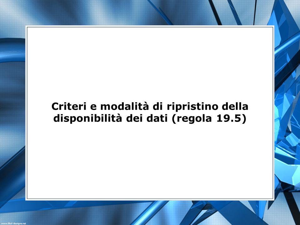 Criteri e modalità di ripristino della disponibilità dei dati (regola 19.5)