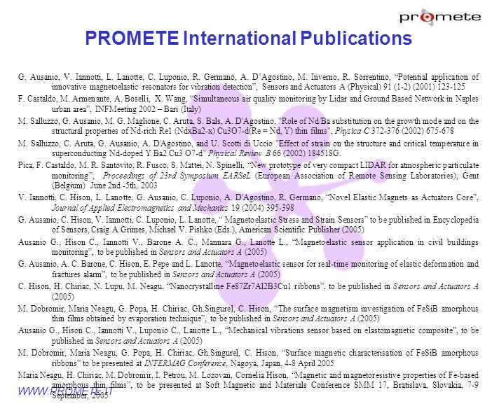 PROMETE International Publications