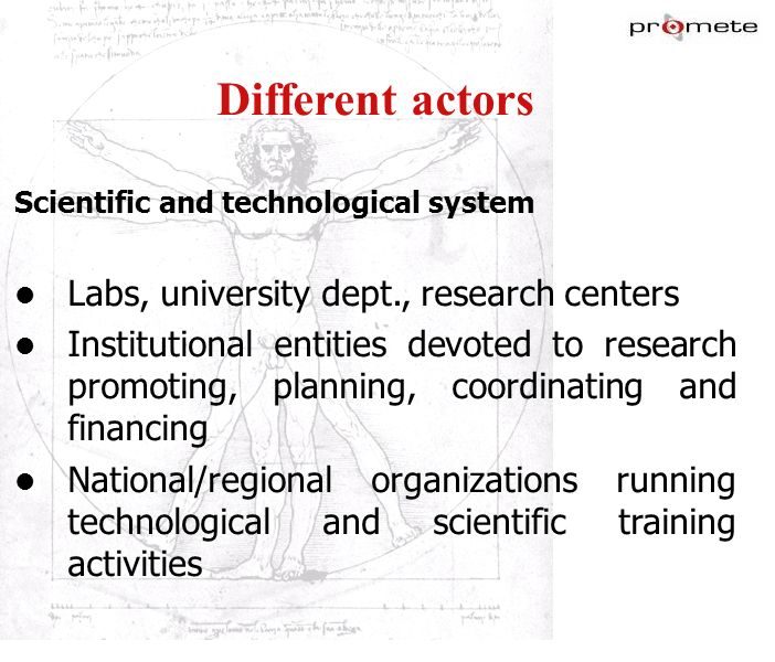 Different actors Labs, university dept., research centers
