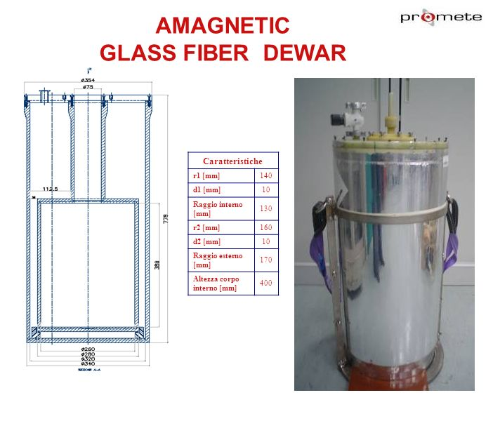 AMAGNETIC GLASS FIBER DEWAR