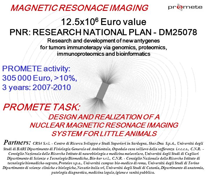 12.5x106 Euro value PNR: RESEARCH NATIONAL PLAN - DM25078