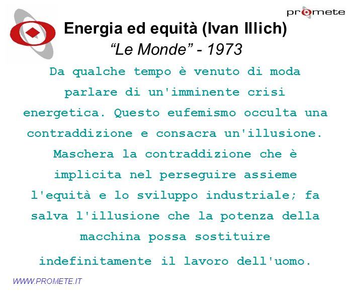 Energia ed equità (Ivan Illich)