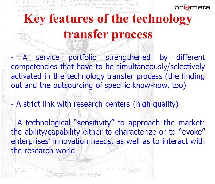 Key features of the technology transfer process