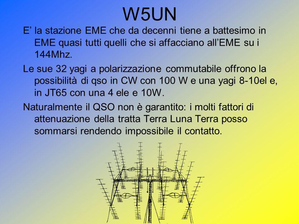 W5UN E' la stazione EME che da decenni tiene a battesimo in EME quasi tutti quelli che si affacciano all'EME su i 144Mhz.