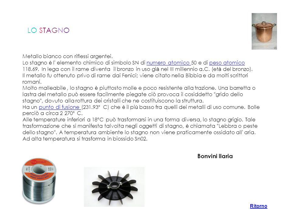 LO STAGNO Bonvini Ilaria Metallo bianco con riflessi argentei.