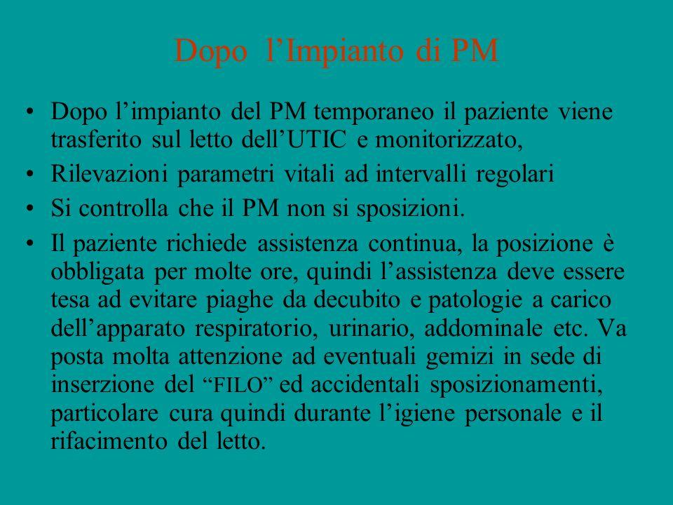 Dopo l'Impianto di PM Dopo l'impianto del PM temporaneo il paziente viene trasferito sul letto dell'UTIC e monitorizzato,