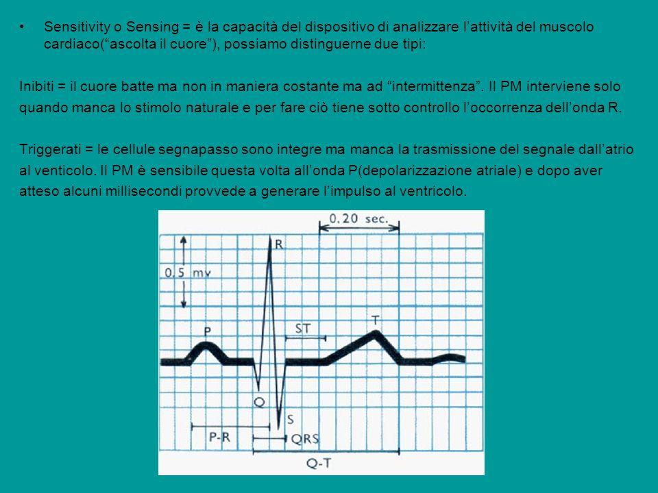 Sensitivity o Sensing = è la capacità del dispositivo di analizzare l'attività del muscolo cardiaco( ascolta il cuore ), possiamo distinguerne due tipi: