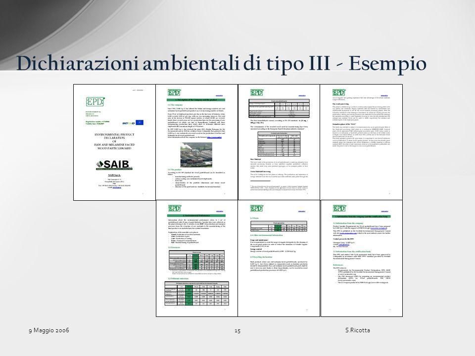 Dichiarazioni ambientali di tipo III - Esempio