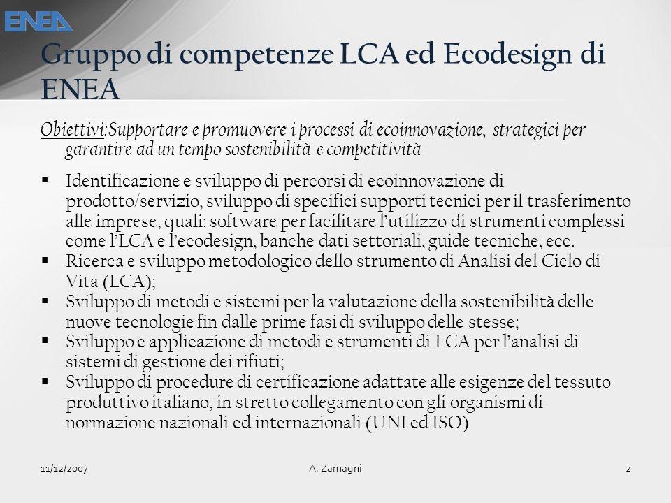 Gruppo di competenze LCA ed Ecodesign di ENEA