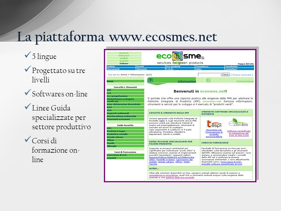 La piattaforma www.ecosmes.net