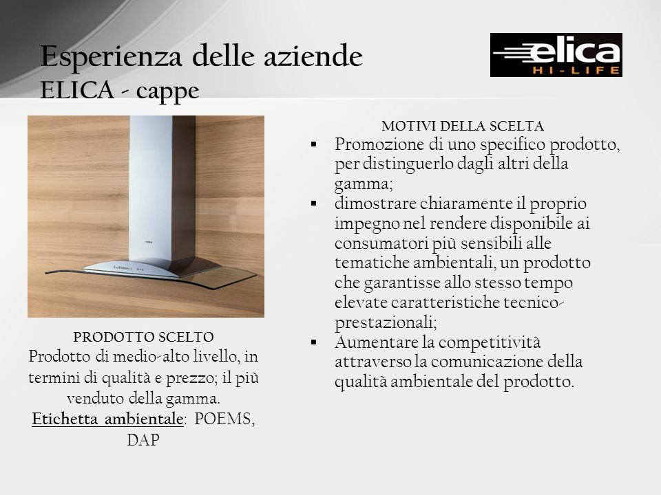 Esperienza delle aziende ELICA - cappe
