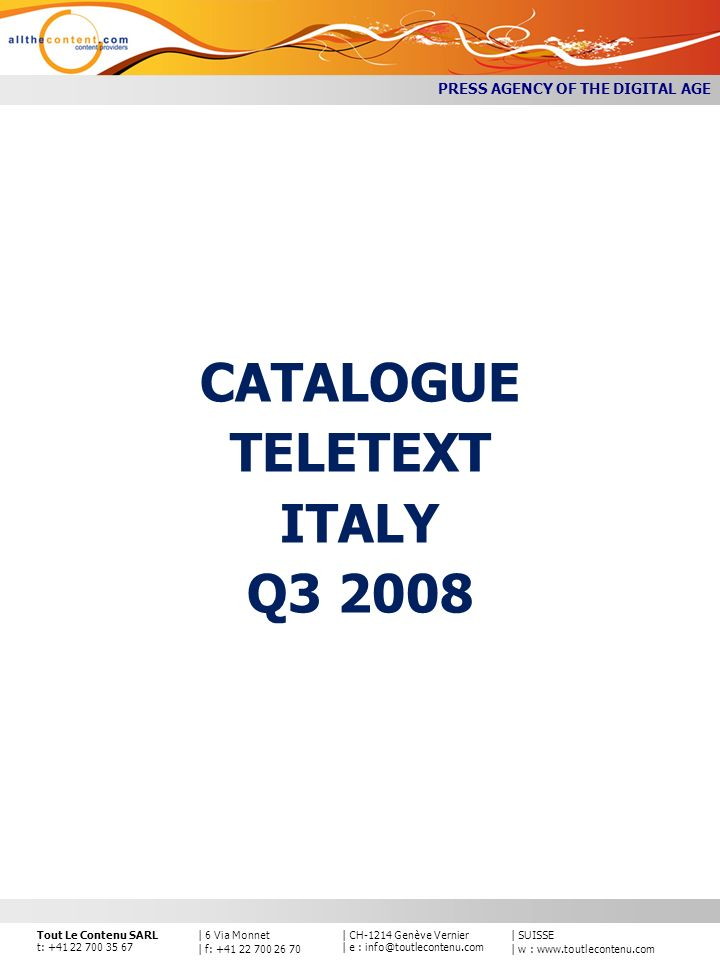 CATALOGUE TELETEXT ITALY Q3 2008