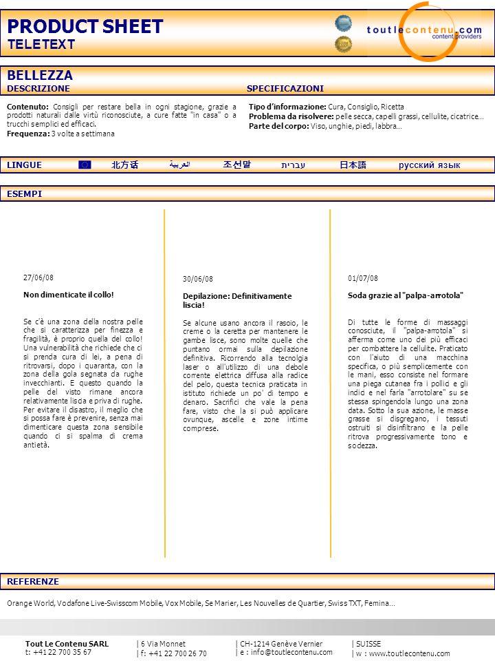 PRODUCT SHEET TELETEXT BELLEZZA DESCRIZIONE SPECIFICAZIONI