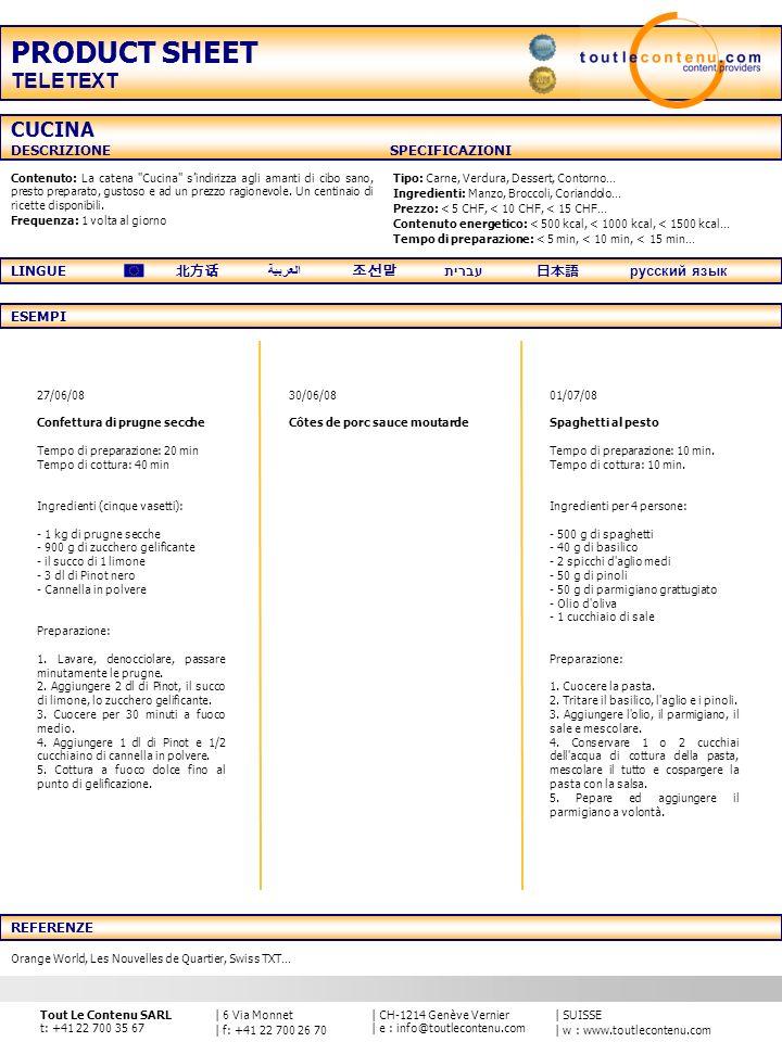 PRODUCT SHEET TELETEXT CUCINA DESCRIZIONE SPECIFICAZIONI