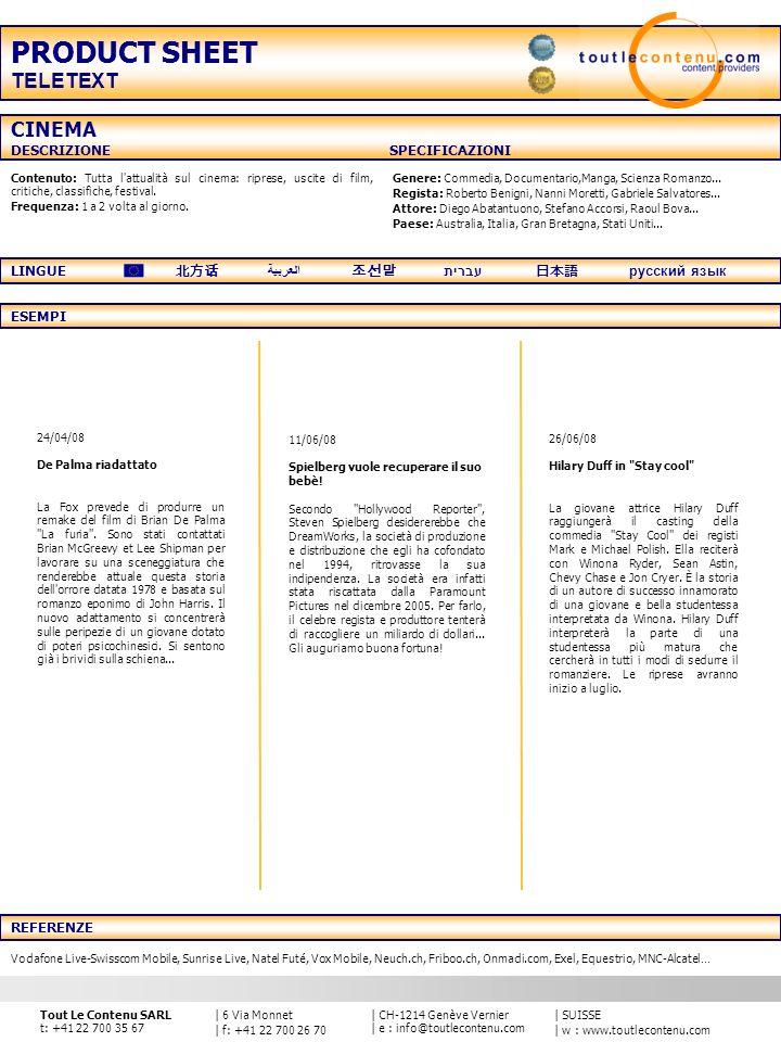 PRODUCT SHEET TELETEXT CINEMA DESCRIZIONE SPECIFICAZIONI