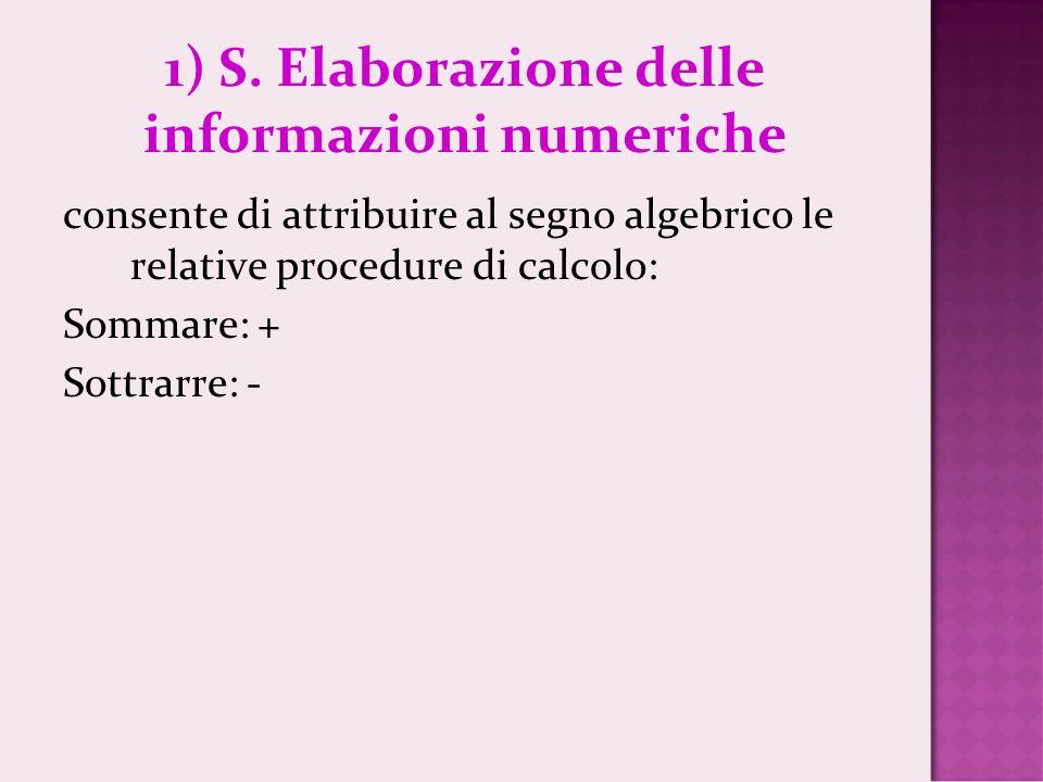 1) S. Elaborazione delle informazioni numeriche