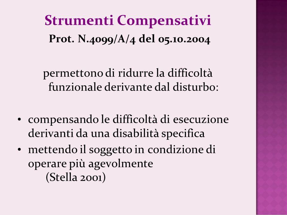 Strumenti Compensativi Prot. N.4099/A/4 del 05.10.2004