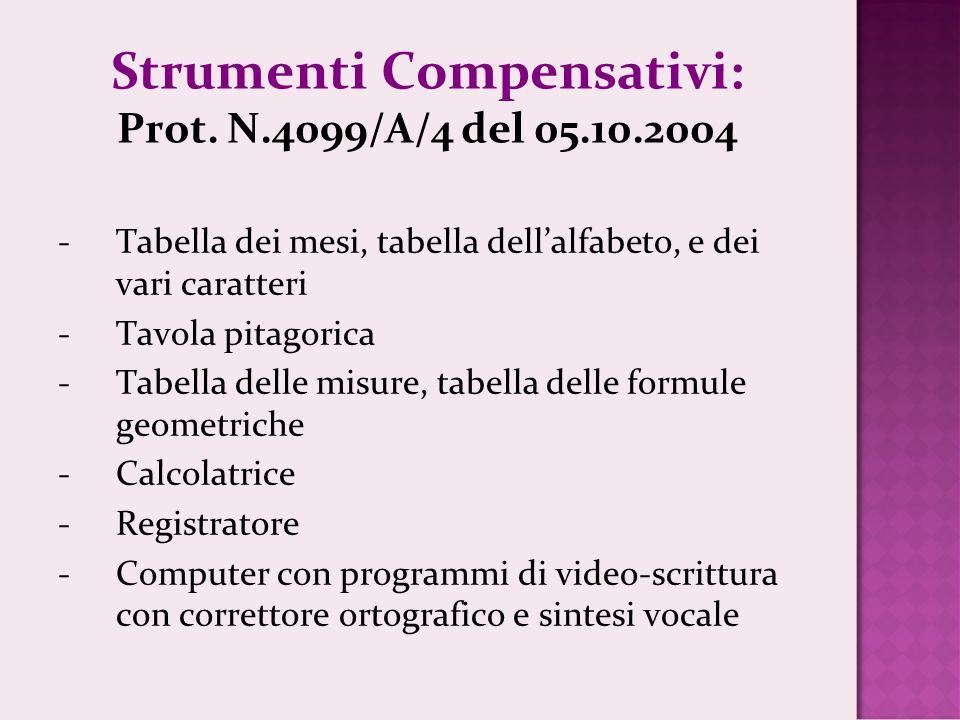 Strumenti Compensativi: Prot. N.4099/A/4 del 05.10.2004
