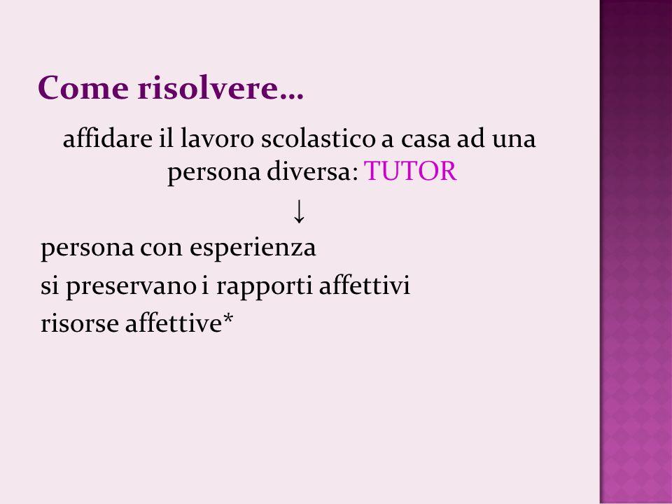 affidare il lavoro scolastico a casa ad una persona diversa: TUTOR