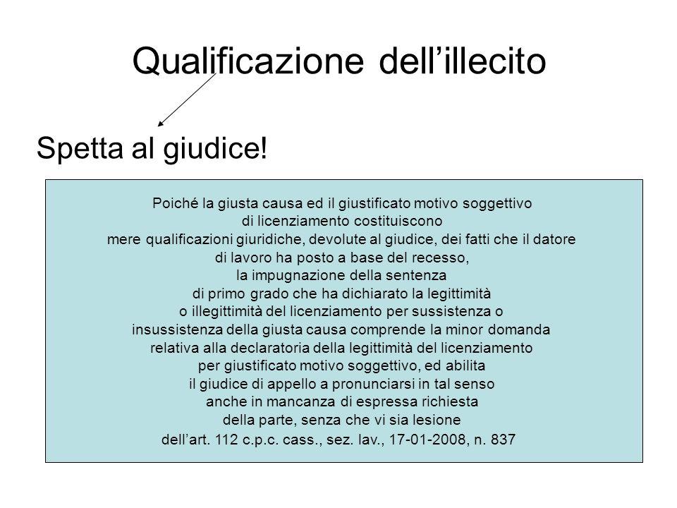 Qualificazione dell'illecito