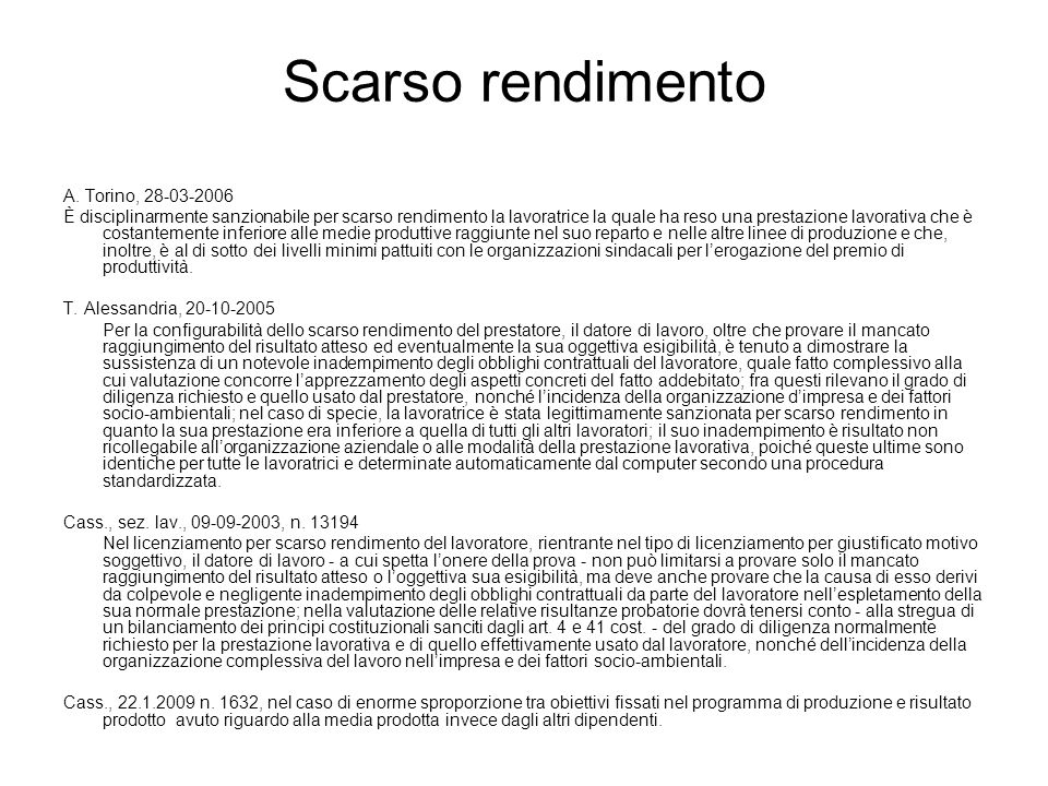 Scarso rendimento A. Torino, 28-03-2006