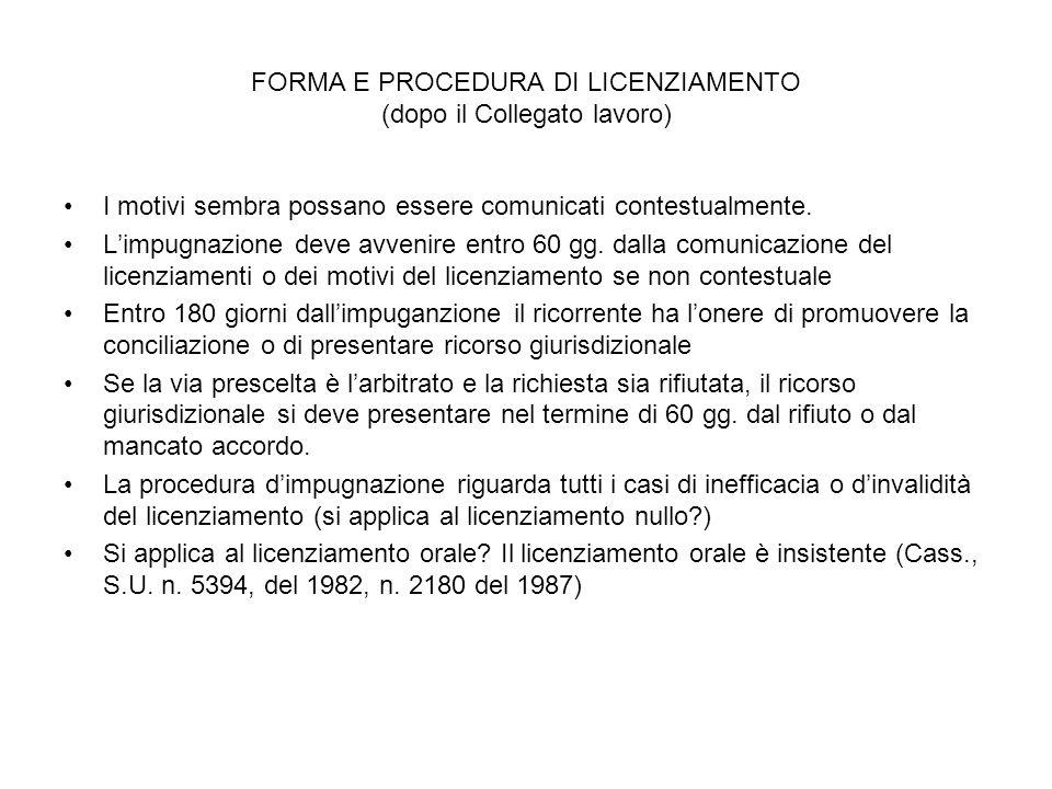 FORMA E PROCEDURA DI LICENZIAMENTO (dopo il Collegato lavoro)