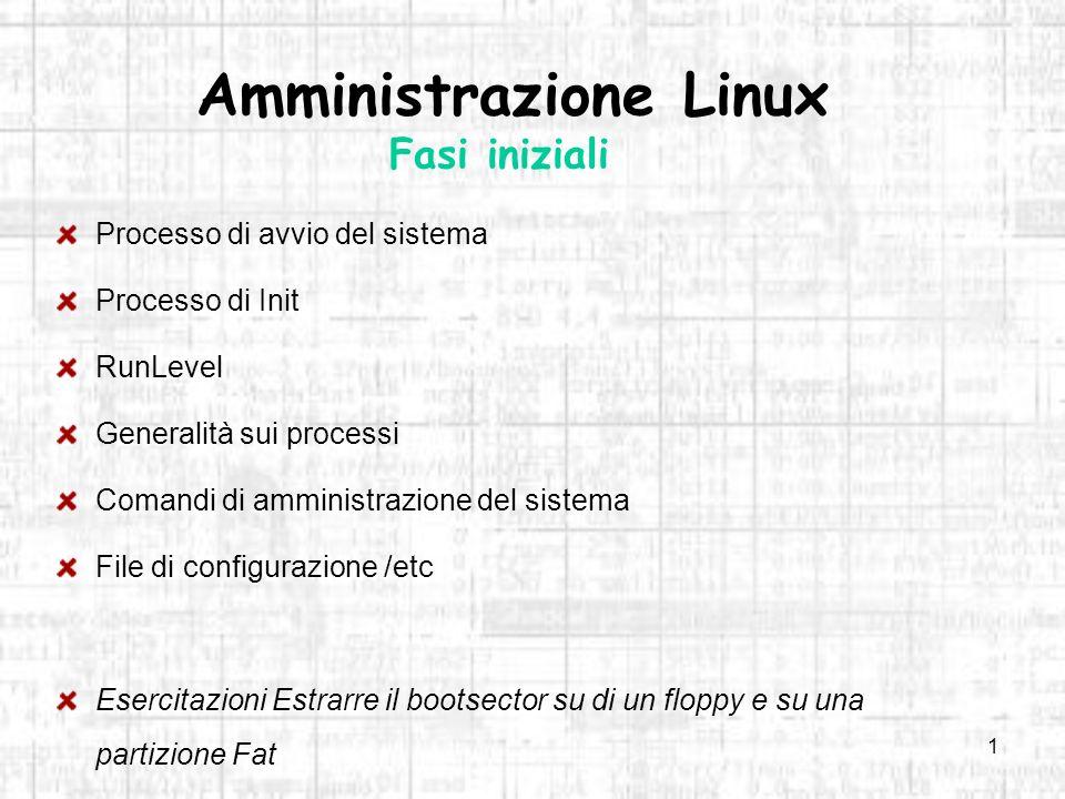 Amministrazione Linux Fasi iniziali