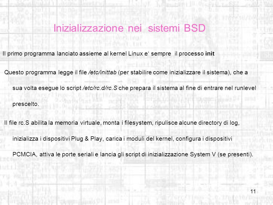 Inizializzazione nei sistemi BSD