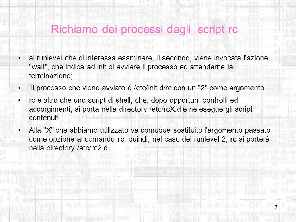 Richiamo dei processi dagli script rc