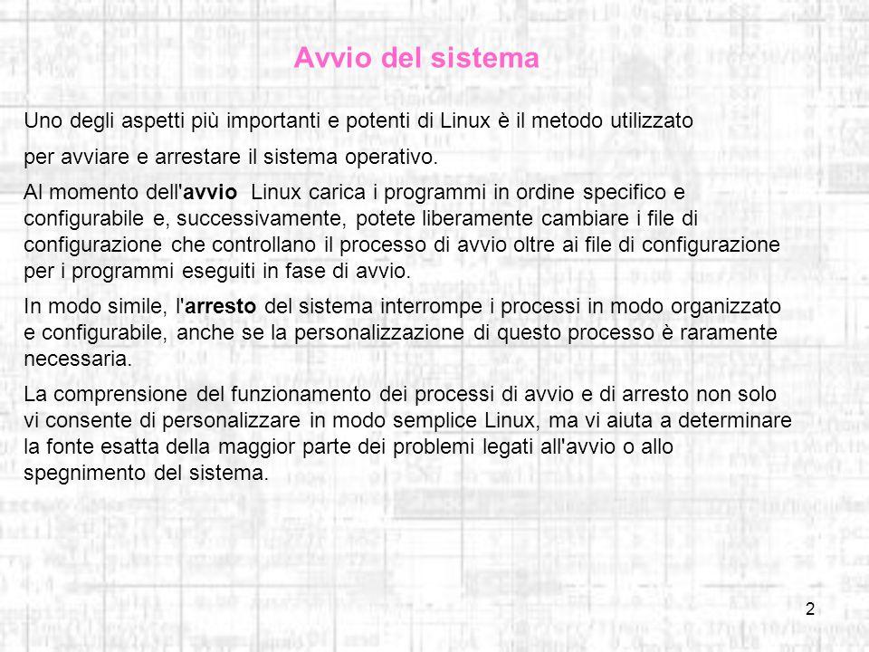 Avvio del sistema Uno degli aspetti più importanti e potenti di Linux è il metodo utilizzato. per avviare e arrestare il sistema operativo.