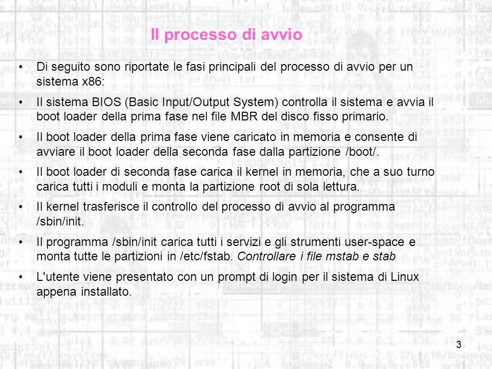 Il processo di avvio Di seguito sono riportate le fasi principali del processo di avvio per un sistema x86: