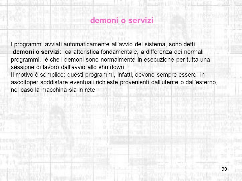 demoni o servizi I programmi avviati automaticamente all'avvio del sistema, sono detti.