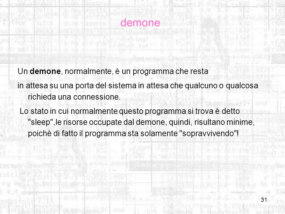 demone Un demone, normalmente, è un programma che resta