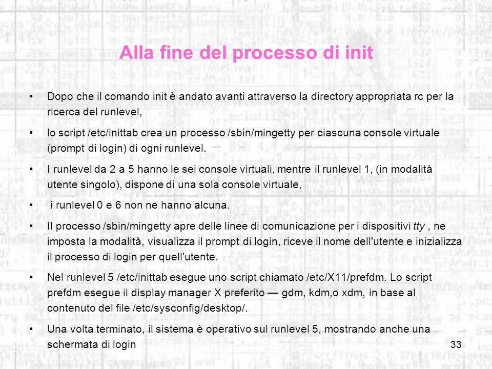 Alla fine del processo di init