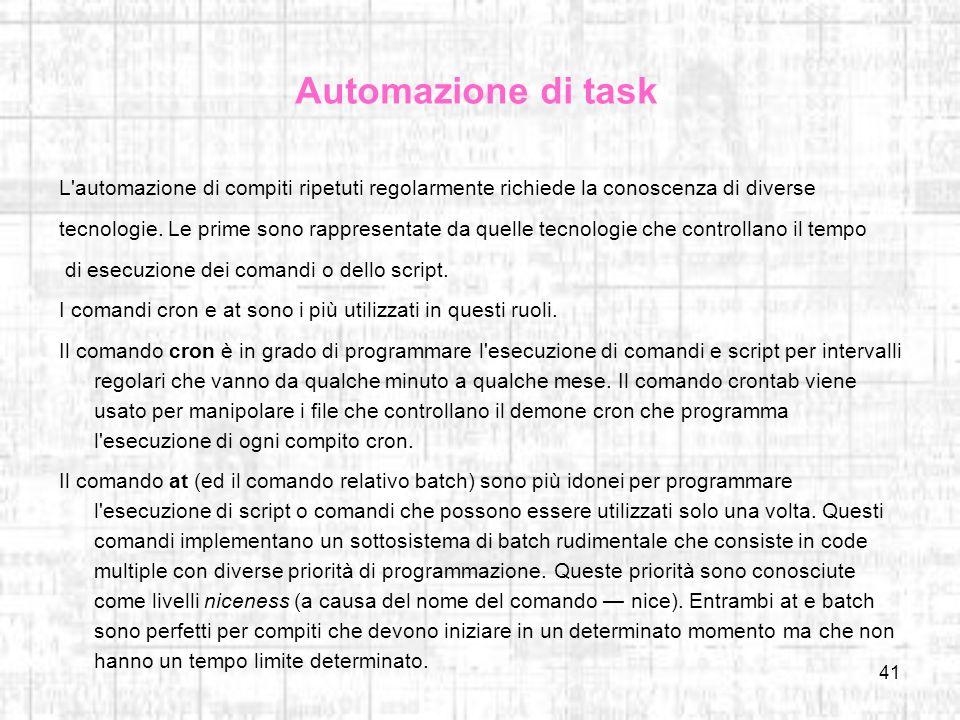Automazione di task L automazione di compiti ripetuti regolarmente richiede la conoscenza di diverse.
