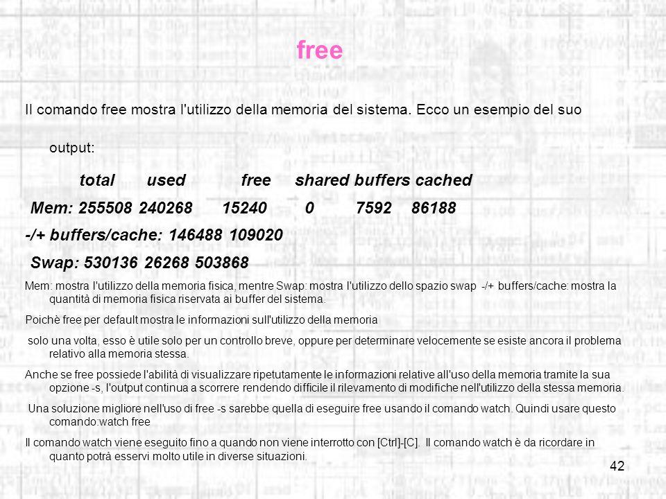 free Il comando free mostra l utilizzo della memoria del sistema. Ecco un esempio del suo output: