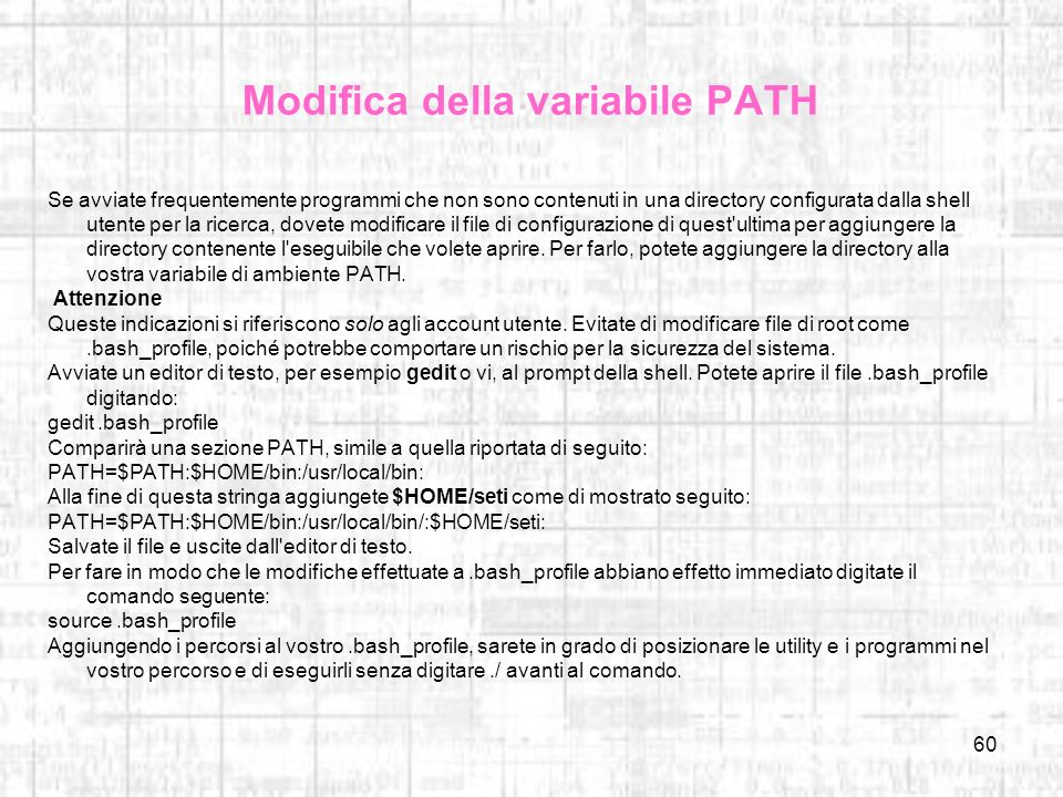 Modifica della variabile PATH