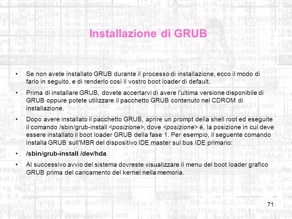 Installazione di GRUB