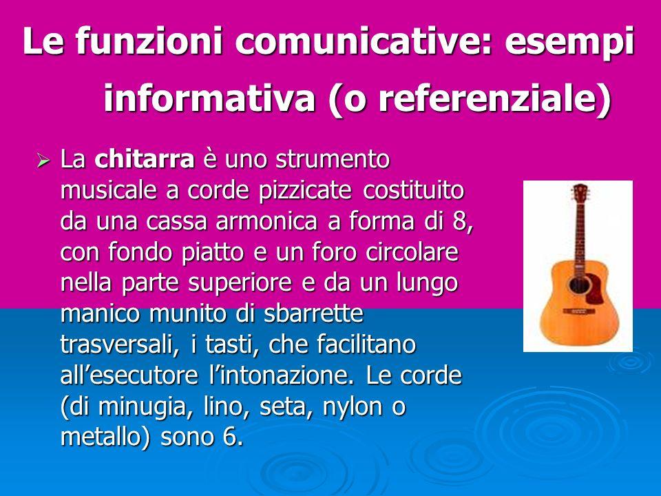 Le funzioni comunicative: esempi