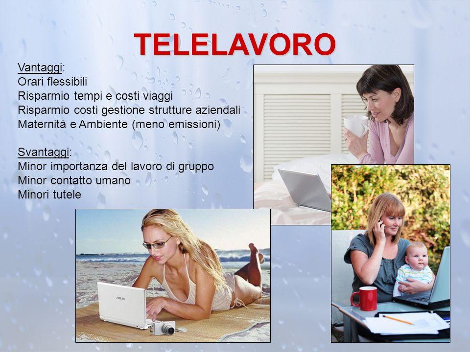 TELELAVORO Vantaggi: Orari flessibili Risparmio tempi e costi viaggi